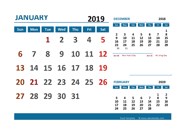 2019 Calendar Template With Holidays from www.calendarlabs.com