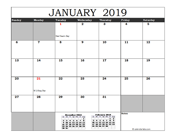 Free 2019 Excel Calendar with US Holidays