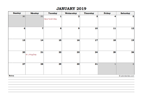2019 Excel Monthly Calendar with Notes
