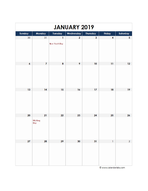 2019 Excel Monthly Calendar Template