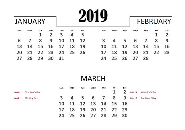 2019 Excel Quarterly Calendar Template