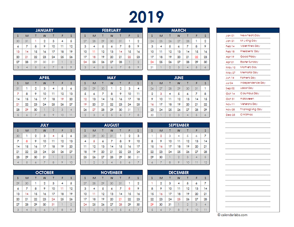 2019 Excel Yearly Calendar