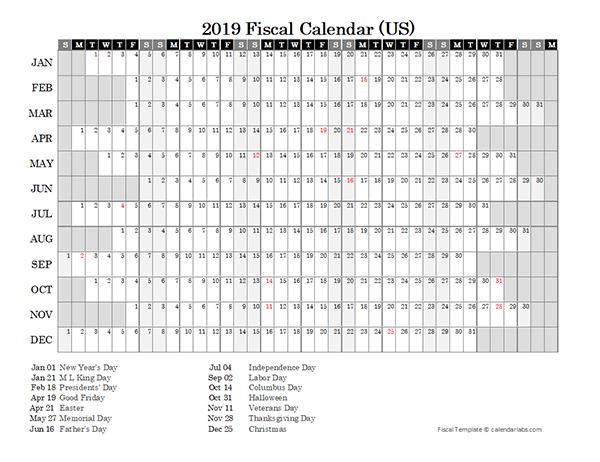 2019 Fiscal Calendar USA