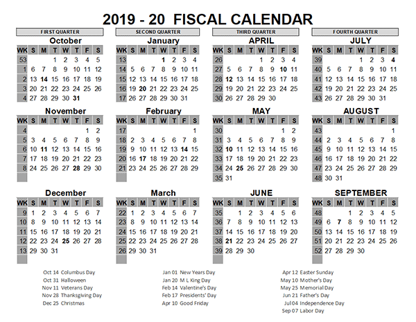 2019 US Fiscal Year Template