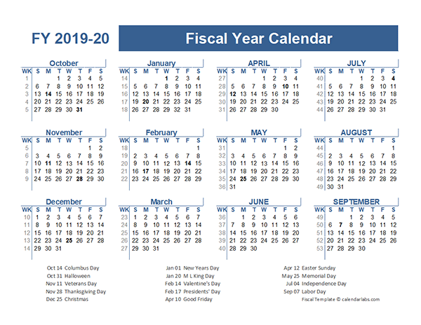 2019 2020 Fiscal Planner Us Free Printable Templates