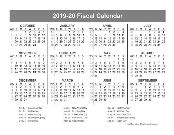 2019 Fiscal Year Quarters Template