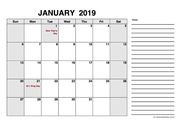 2019 Free Calendar PDF