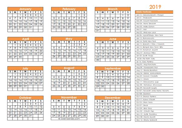 2019 Hindu Festivals Calendar Template