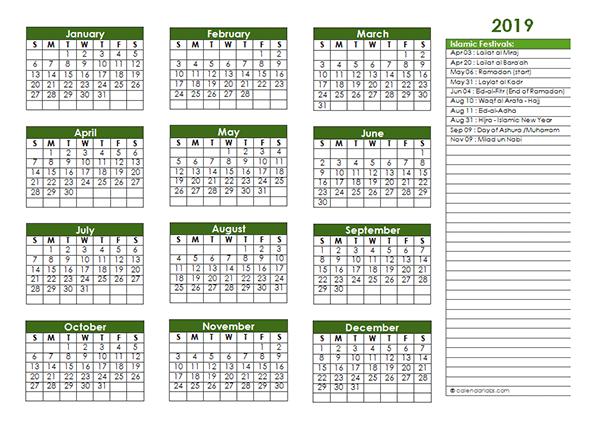 2019 Islamic Festivals Calendar Template