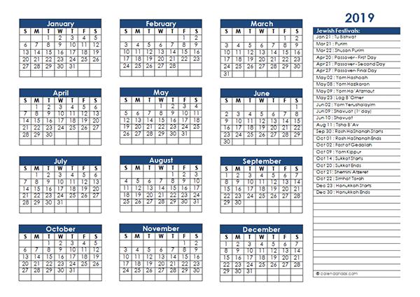 2019 Jewish Festivals Calendar Template
