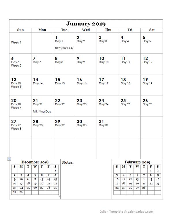 2019 Julian Day Calendar