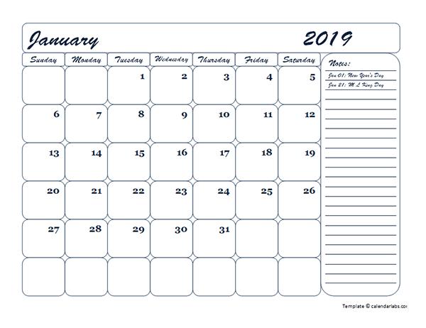 2019 Monthly Blank Calendar Template
