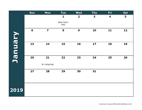 2019 Monthly Calendar Template