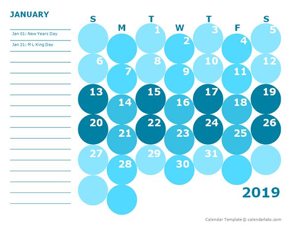 2019 Monthly Colorful Calendar for Kindergarten