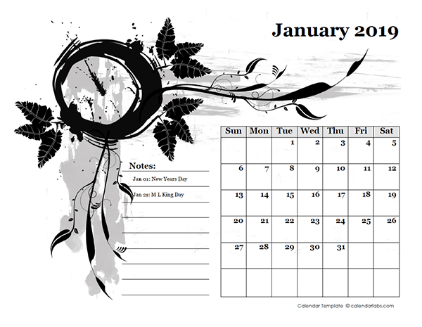 2019 Monthly Calendar Design Template - Free Printable ...
