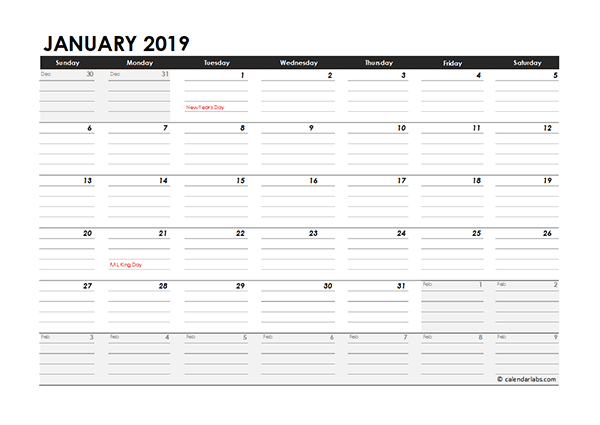 Editable 2019 Monthly Calendar Excel Template