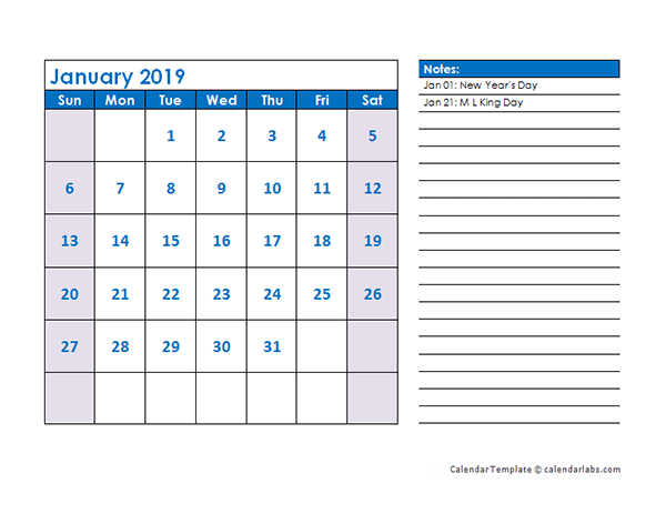 2019 Monthly Calendar Template Landscape Free Printable Templates