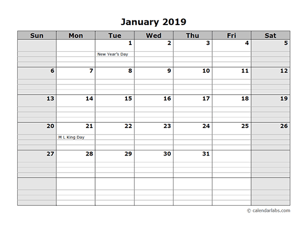2019 Monthly Calendar With Daily Notes Free Printable Templates