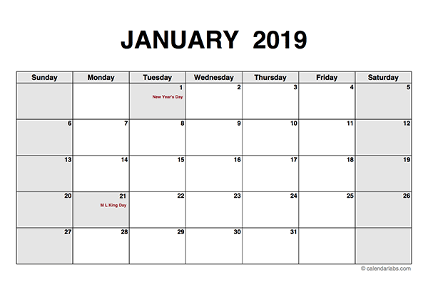 2019 Monthly Calendar Pdf Free Printable Templates