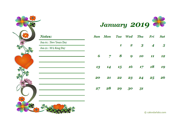 2019 Monthly Calendar Template Design