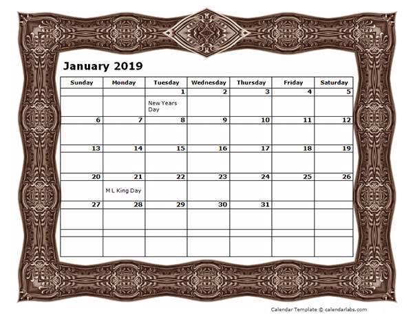 2019 Monthly Calendar Template with Frame Design