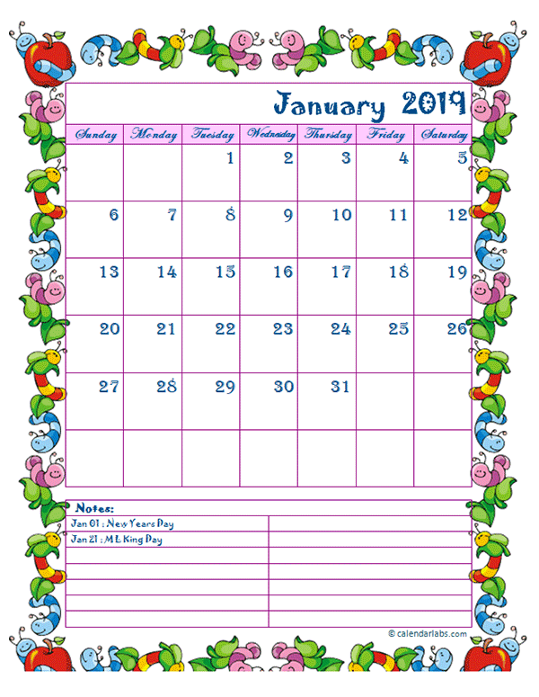 2019 Monthly Kid Kindergarten Calendar Template Free Printable