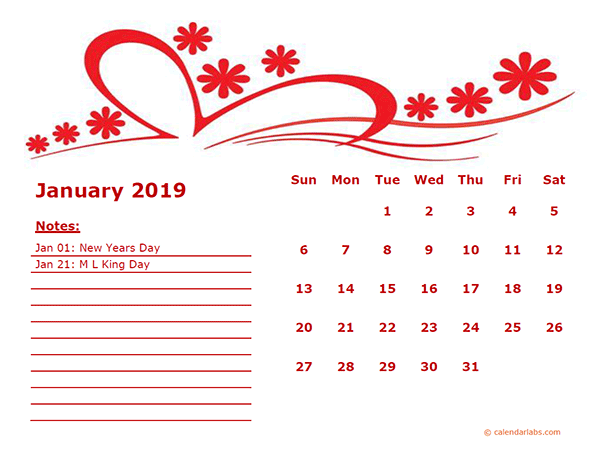 2019 Monthly Calendar Template Kindergarten