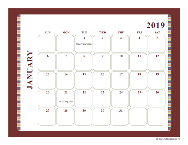 Free Printable Calendar Large Boxes