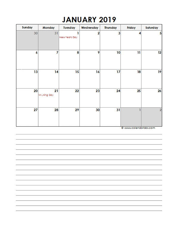 2019 Monthly Excel Template Calendar