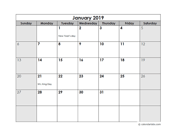 2019 Monthly Calendar With Us Holidays Free Printable Templates
