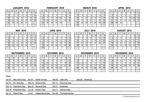 2019 PDF Yearly Calendar With Holidays - Free Printable ...