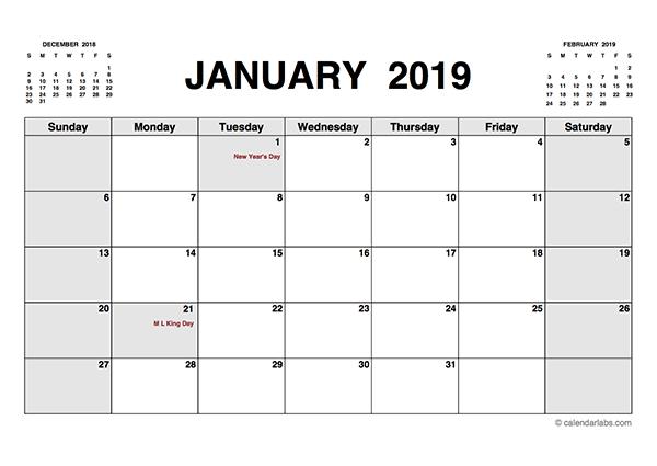 2019 Printable Calendar PDF