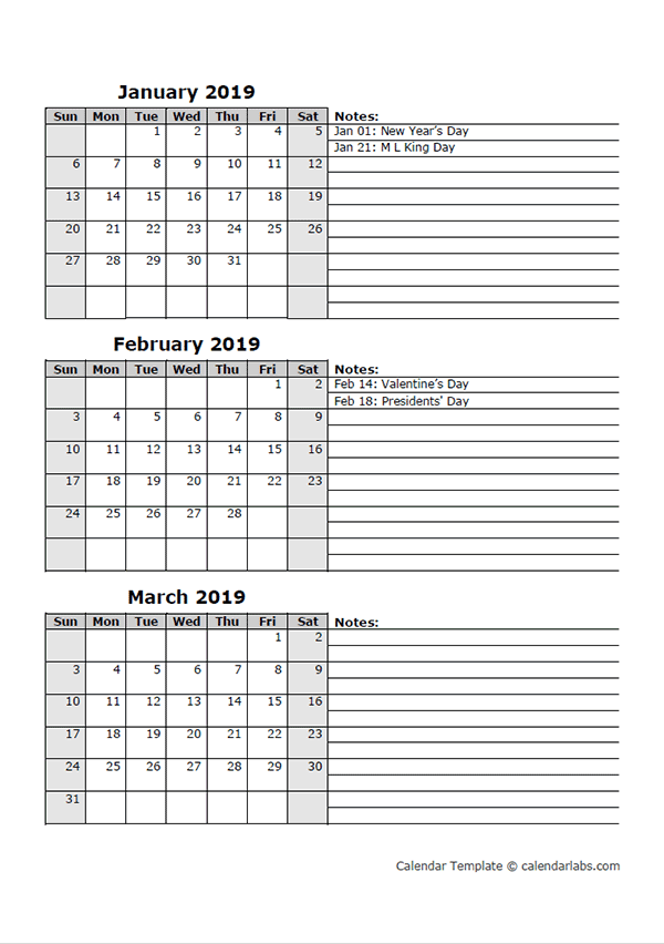 2019 Three Month Calendar Template Free Printable Templates