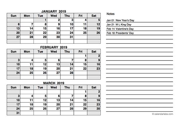 2019 Quarterly Calendar PDF