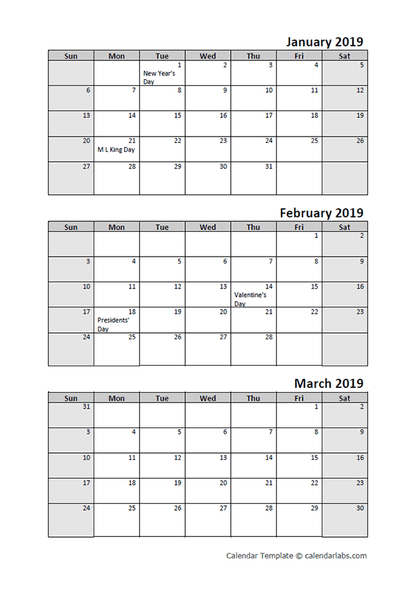 2019 Quarterly Calendar With Holidays