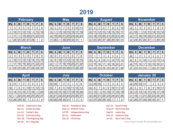 2019 Retail Accounting Calendar 4-4-5
