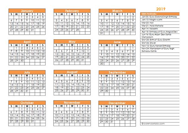 2019 Sikh Festivals Calendar Template
