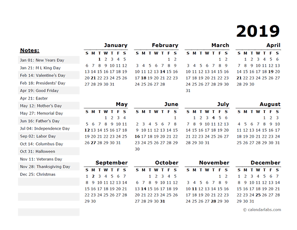 2019 Year Calendar Template with US Holidays