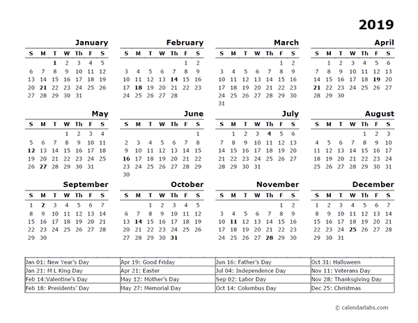 2019 Year Calendar Template With Us Holidays Free Printable Templates