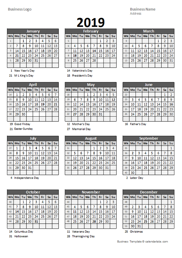 2019 Yearly Business Calendar With Week Number Free Printable