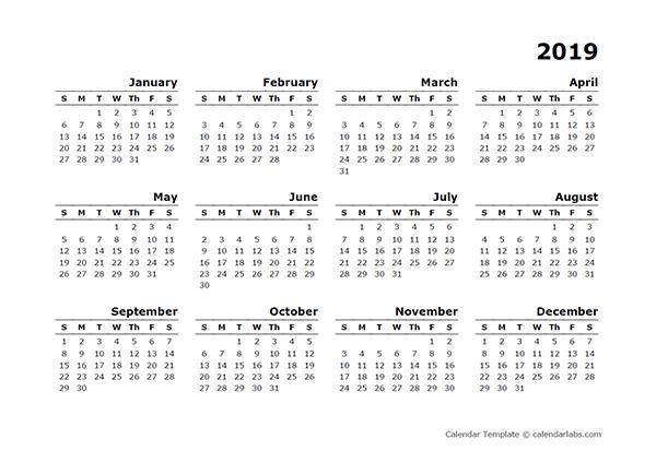 2019 yearly calendar printable