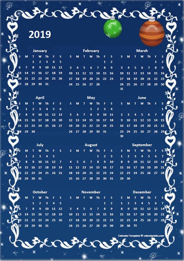 2019 Yearly Calendar Design Template