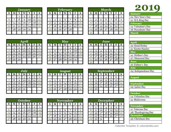 Editable 2019 Yearly Calendar Landscape Free Printable Templates