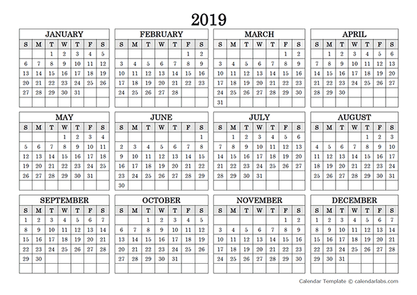 2019 Blank Yearly Calendar Landscape Free Printable Templates