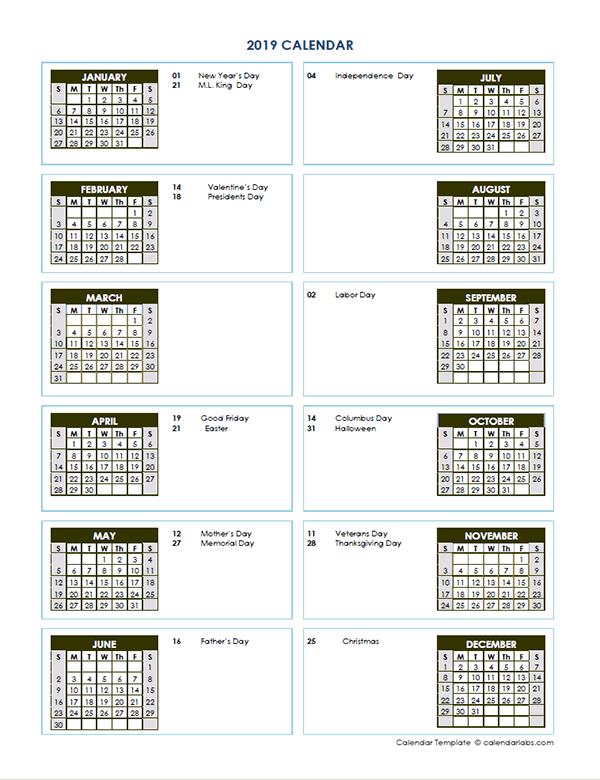 2019 Yearly Calendar Template Vertical Design