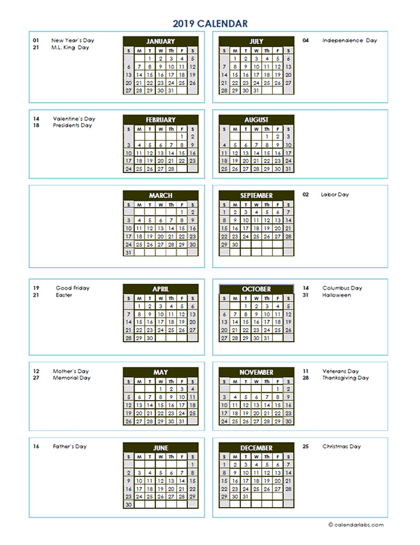 2019 Annual Calendar Vertical Template Free Printable Templates