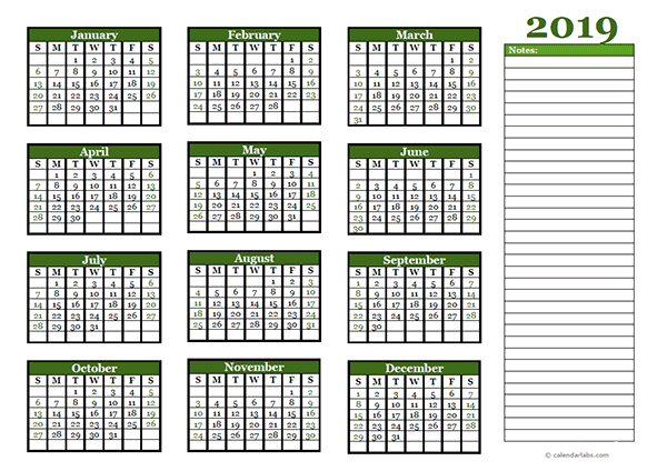 2019 yearly calendar with blank notes