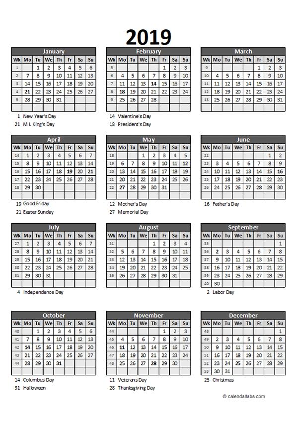 Editable 2019 Yearly Spreadsheet Calendar