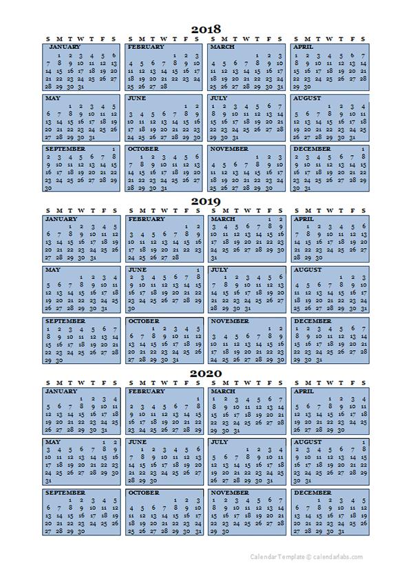Three Year Calendar Template 2018 to 2020