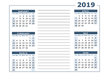 Blank Two Page Calendar Template for 2019